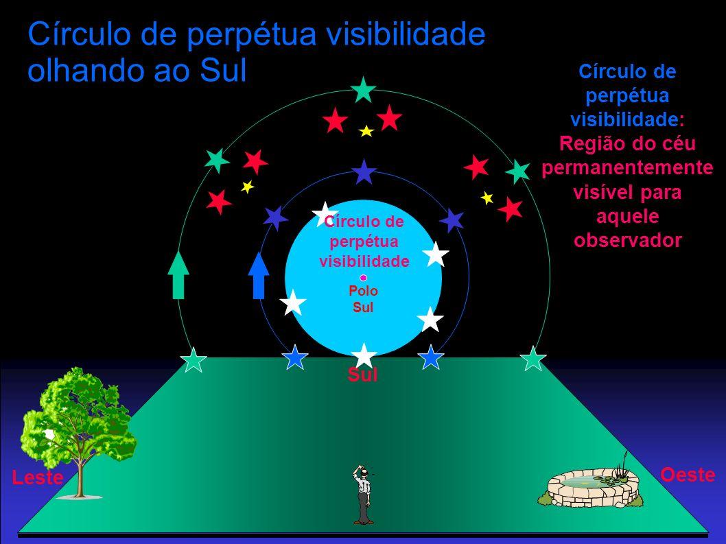Polo Sul Círculo de perpétua visibilidade olhando ao Sul Sul Oeste Leste Círculo de perpétua visibilidade Círculo de perpétua visibilidade: Região do