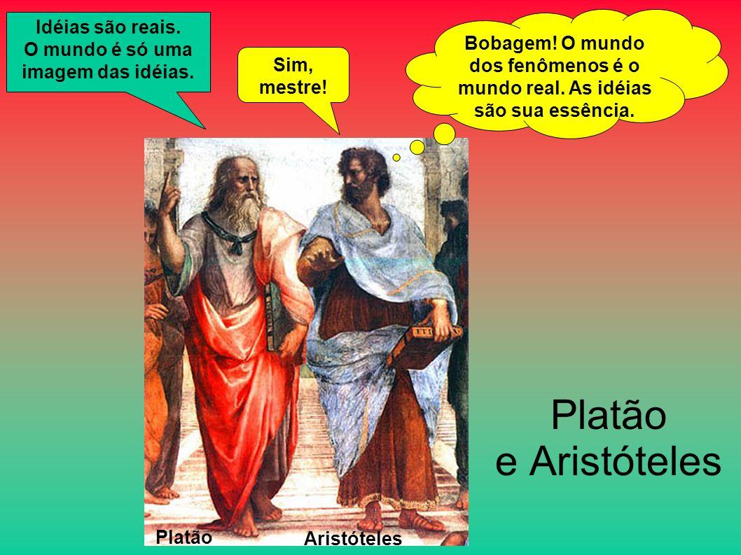 Platão e Aristóteles Platão Aristóteles Idéias são reais. O mundo é só uma imagem das idéias. Sim, mestre! Bobagem! O mundo dos fenômenos é o mundo re