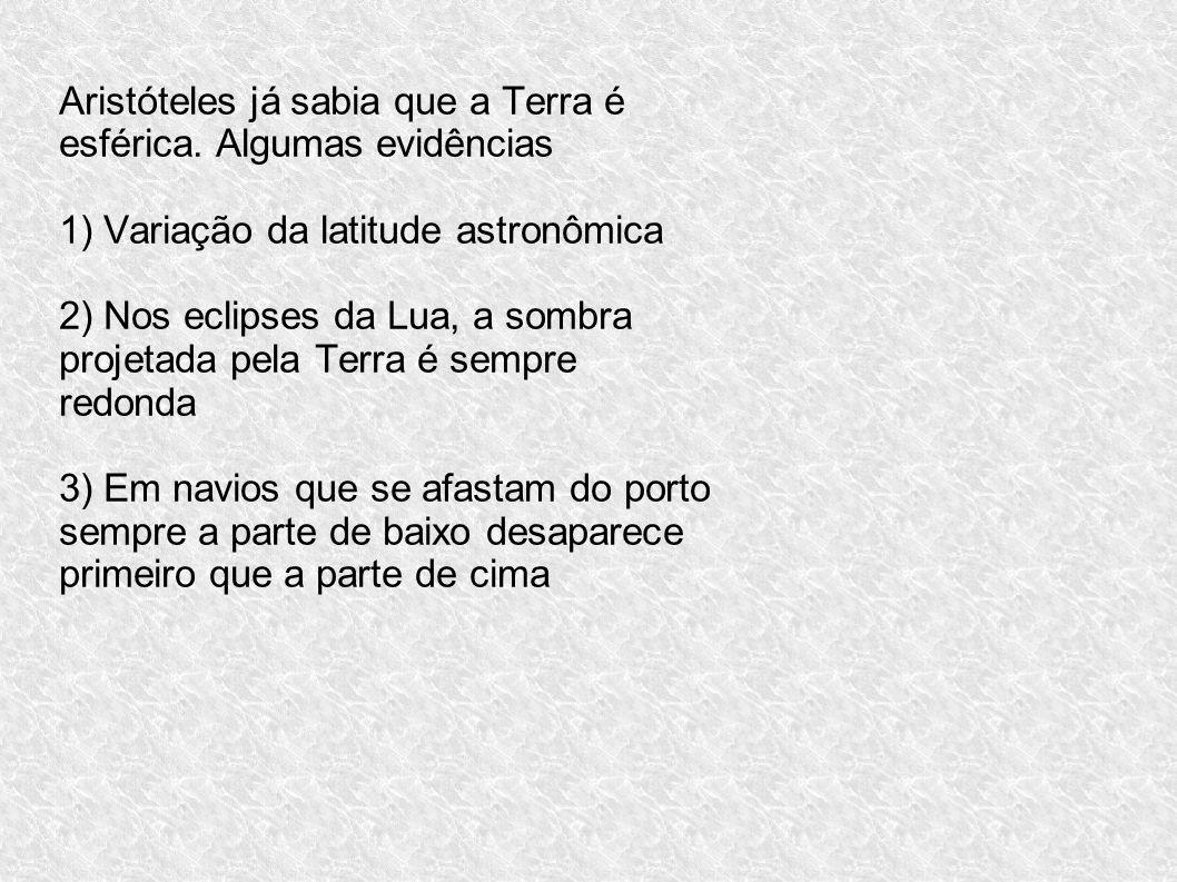 Aristóteles já sabia que a Terra é esférica. Algumas evidências 1) Variação da latitude astronômica 2) Nos eclipses da Lua, a sombra projetada pela Te