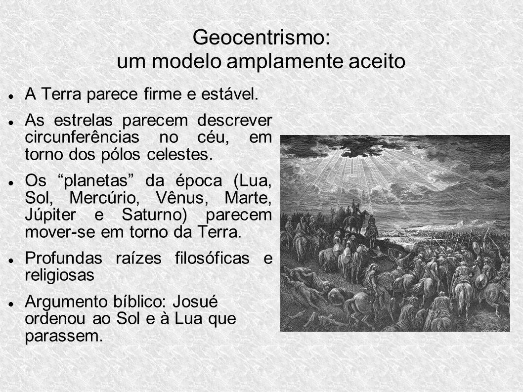 Geocentrismo: um modelo amplamente aceito A Terra parece firme e estável. As estrelas parecem descrever circunferências no céu, em torno dos pólos cel