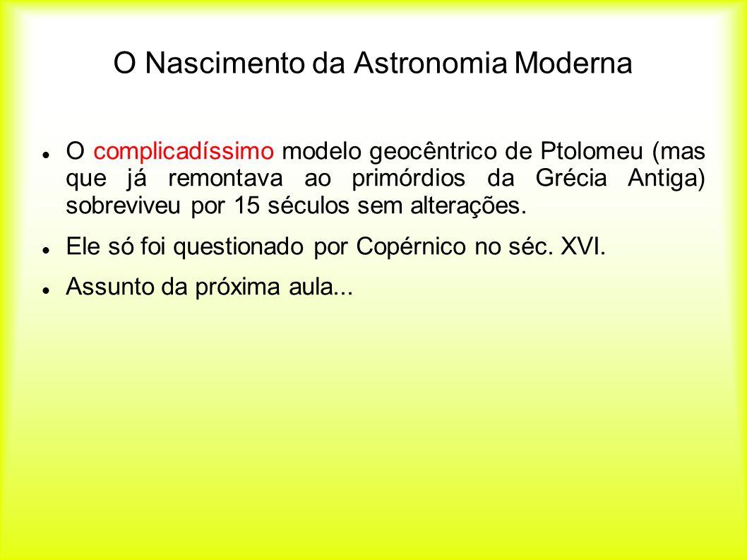 O Nascimento da Astronomia Moderna O complicadíssimo modelo geocêntrico de Ptolomeu (mas que já remontava ao primórdios da Grécia Antiga) sobreviveu p
