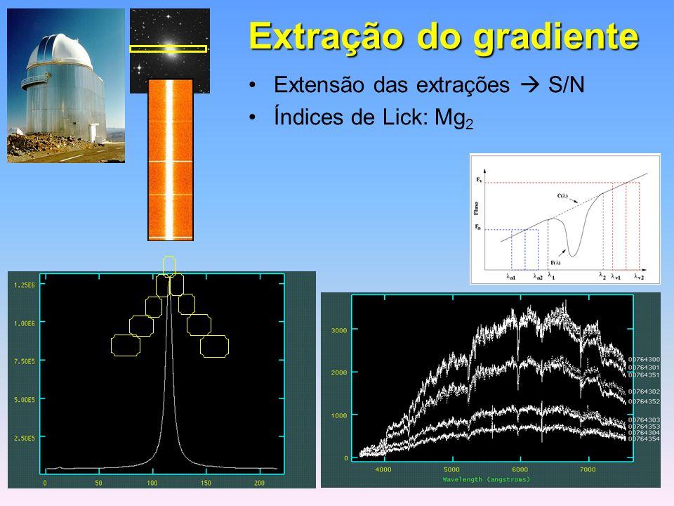 Extração do gradiente Extensão das extrações S/N Índices de Lick: Mg 2