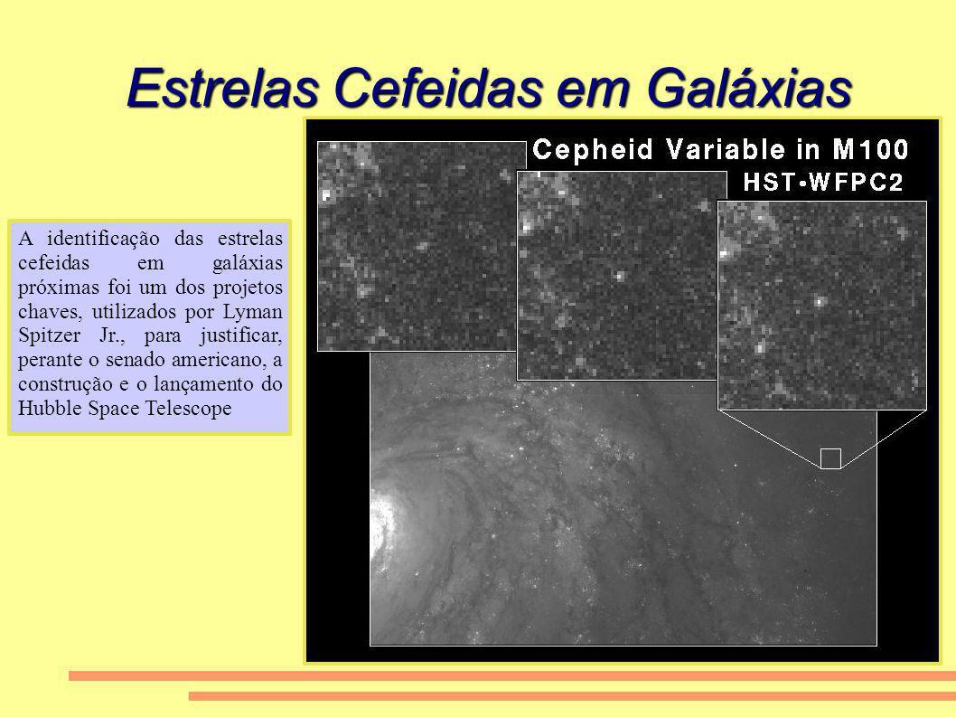 Estrelas Cefeidas em Galáxias A identificação das estrelas cefeidas em galáxias próximas foi um dos projetos chaves, utilizados por Lyman Spitzer Jr.,