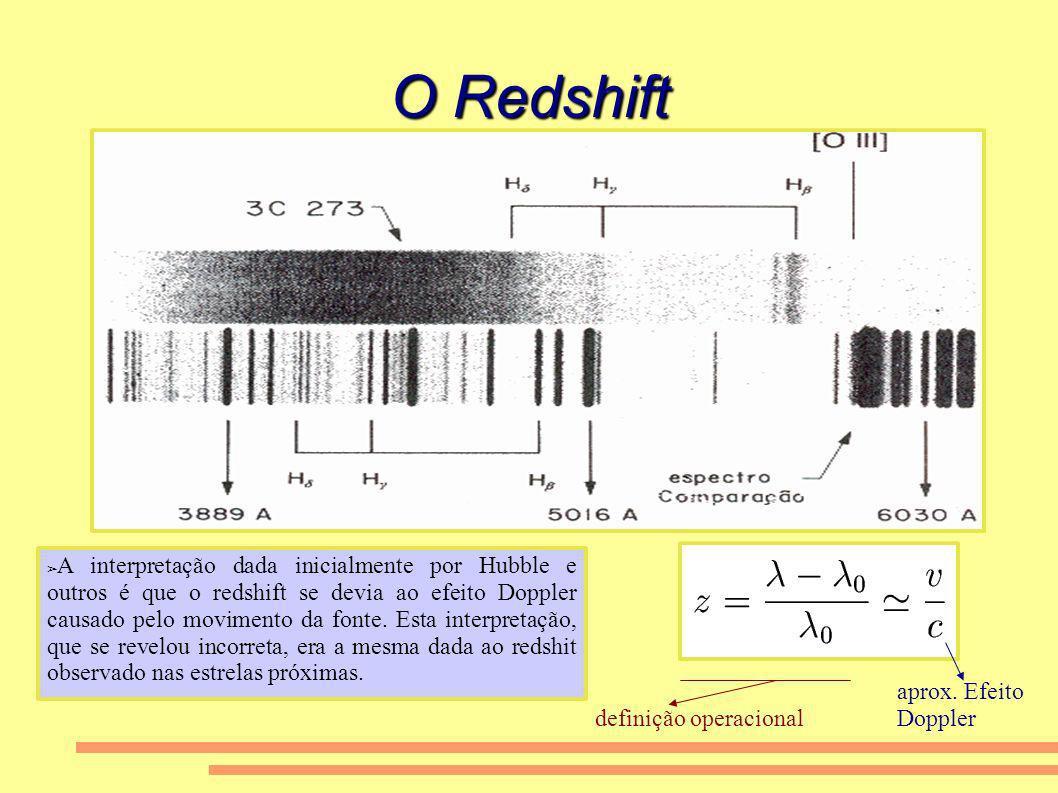 O Redshift A interpretação dada inicialmente por Hubble e outros é que o redshift se devia ao efeito Doppler causado pelo movimento da fonte. Esta int