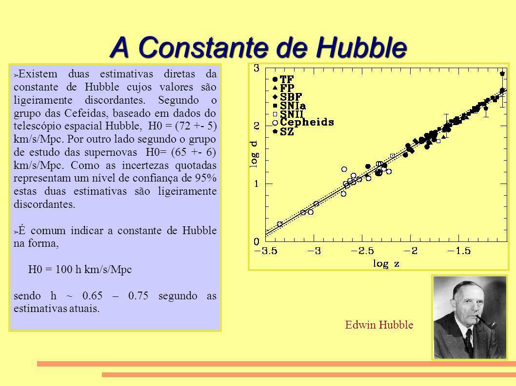 A Constante de Hubble Existem duas estimativas diretas da constante de Hubble cujos valores são ligeiramente discordantes. Segundo o grupo das Cefeida
