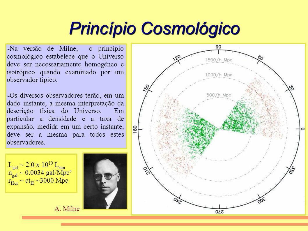 Princípio Cosmológico Na versão de Milne, o princípio cosmológico estabelece que o Universo deve ser necessariamente homogêneo e isotrópico quando exa