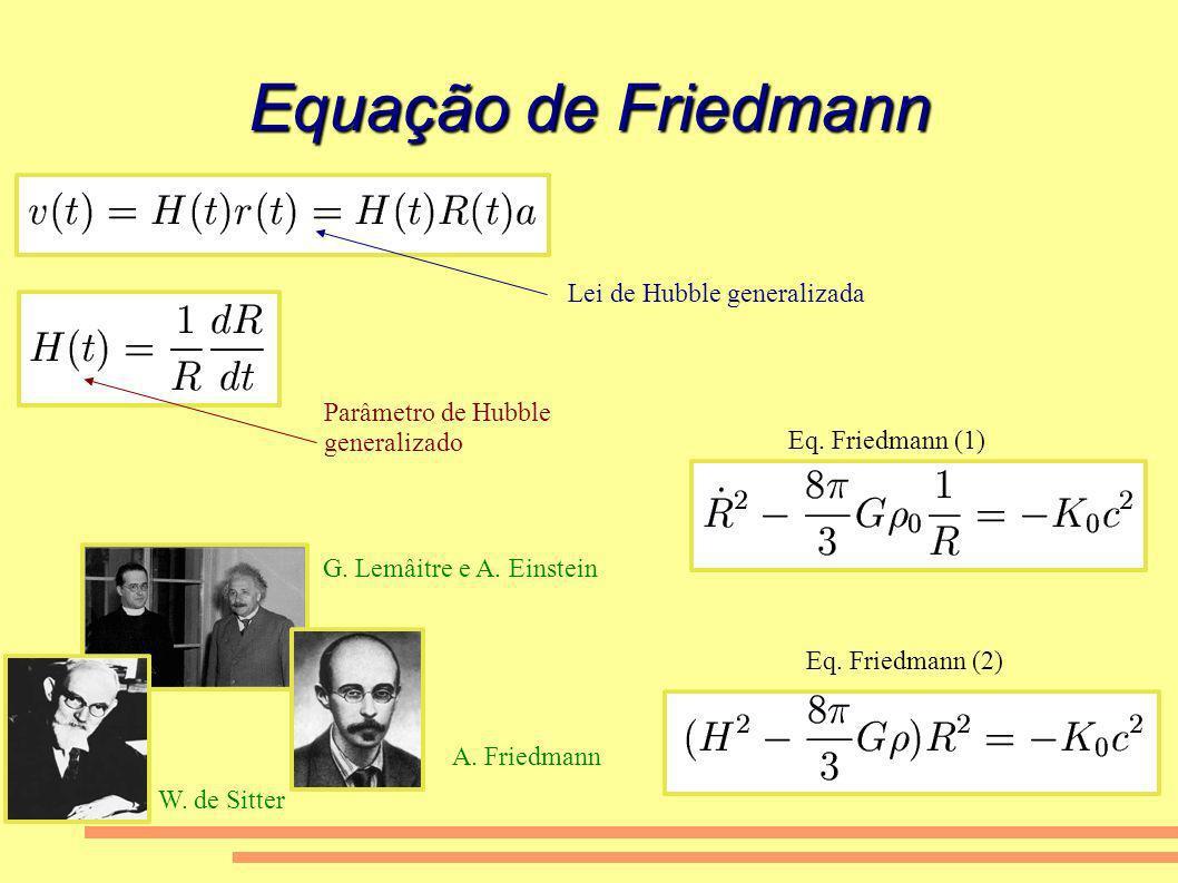 Equação de Friedmann Lei de Hubble generalizada Parâmetro de Hubble generalizado Eq. Friedmann (1) Eq. Friedmann (2) A. Friedmann G. Lemâitre e A. Ein
