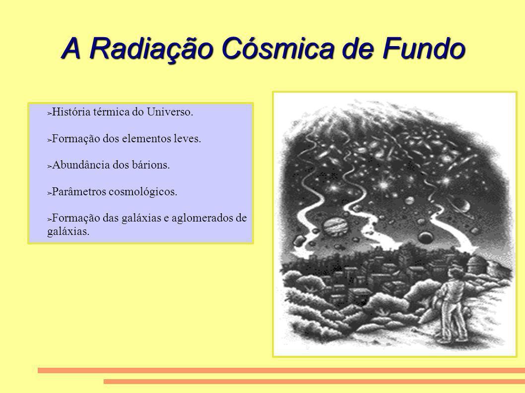 A Radiação Cósmica de Fundo História térmica do Universo. Formação dos elementos leves. Abundância dos bárions. Parâmetros cosmológicos. Formação das
