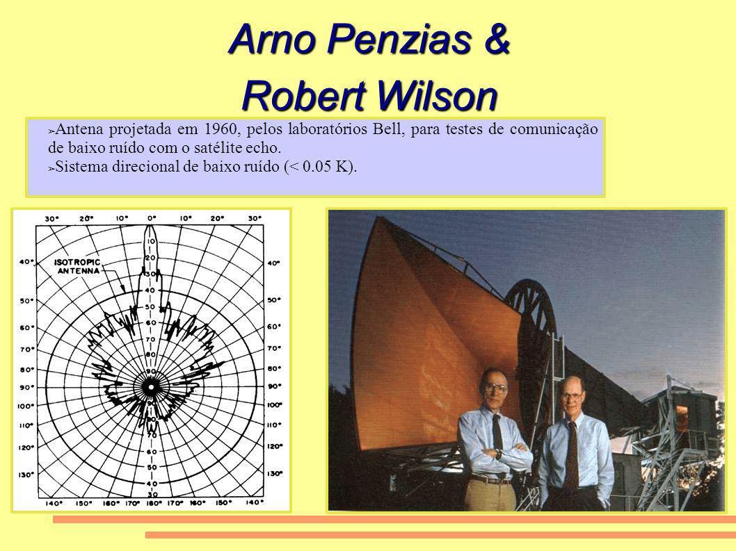 Arno Penzias & Robert Wilson Antena projetada em 1960, pelos laboratórios Bell, para testes de comunicação de baixo ruído com o satélite echo. Sistema