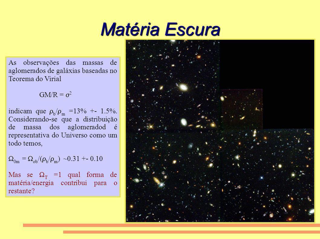 Matéria Escura As observações das massas de aglomerados de galáxias baseadas no Teorema do Virial GM/R = 2 indicam que b / m =13% +- 1.5%. Considerand