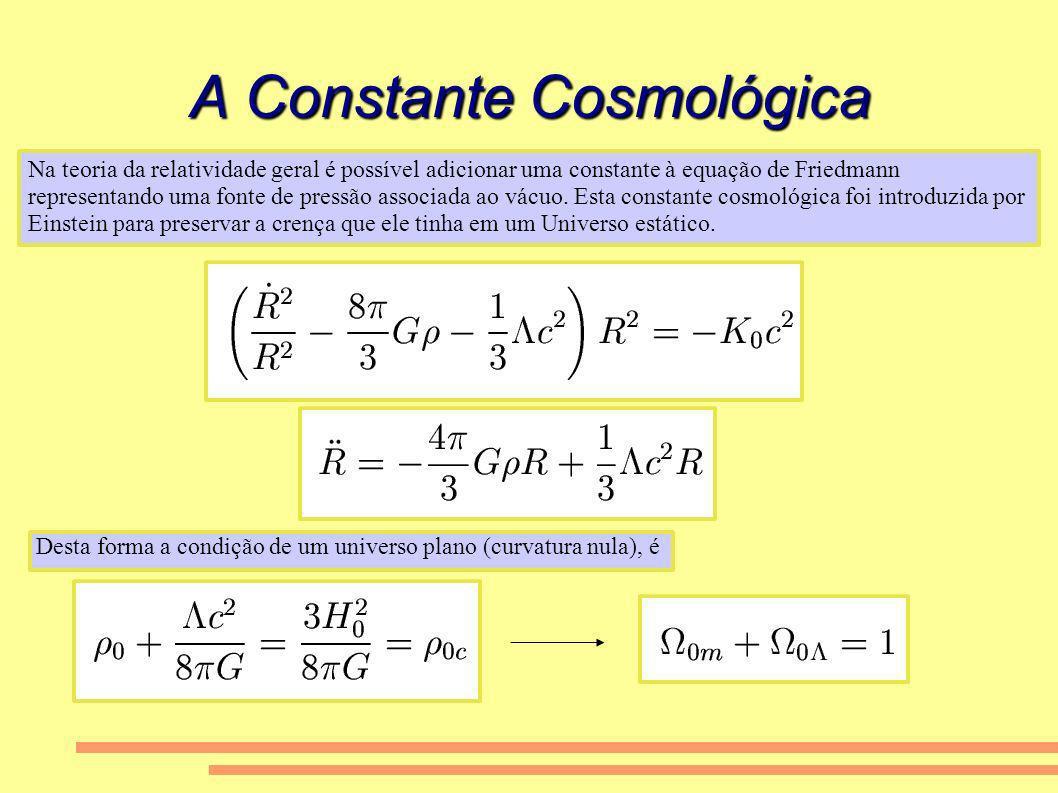 A Constante Cosmológica Na teoria da relatividade geral é possível adicionar uma constante à equação de Friedmann representando uma fonte de pressão a