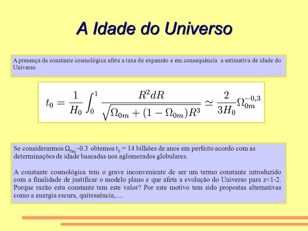 A Idade do Universo A presença da constante cosmológica afeta a taxa de expansão e em consequência a estimativa de idade do Universo Se considerarmos