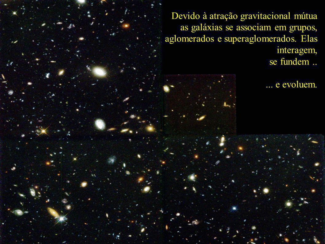 Devido à atração gravitacional mútua as galáxias se associam em grupos, aglomerados e superaglomerados. Elas interagem, se fundem..... e evoluem.