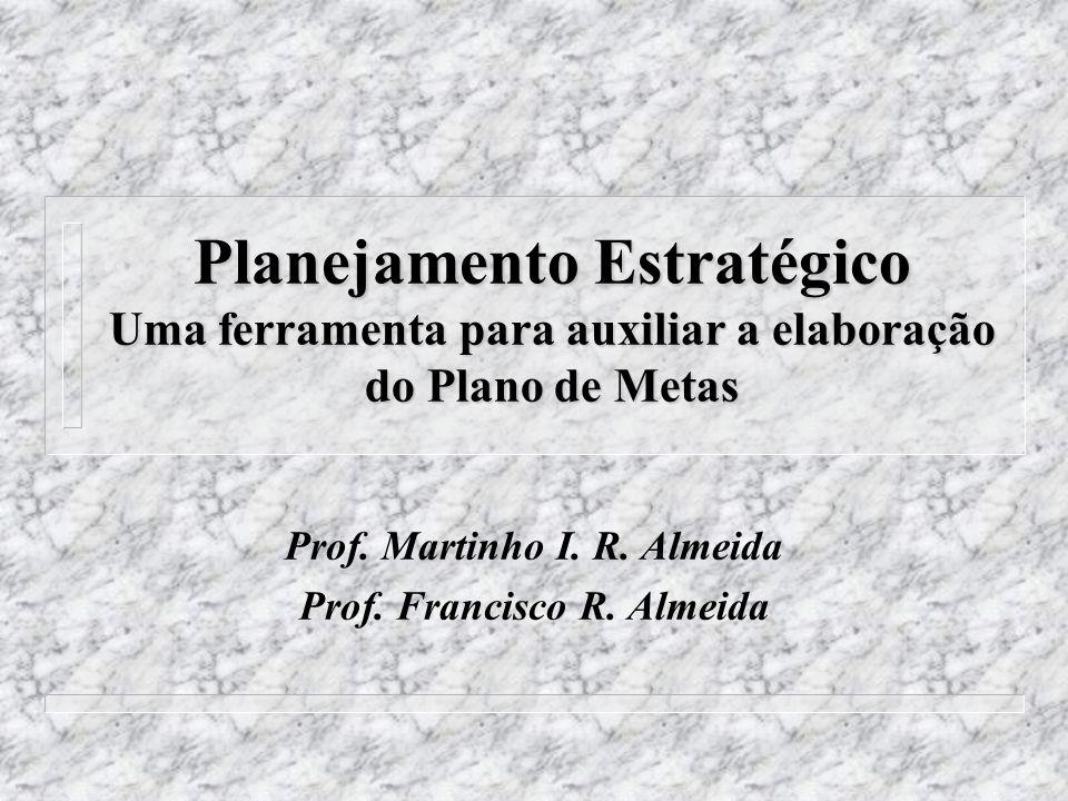 Planejamento Estratégico Uma ferramenta para auxiliar a elaboração do Plano de Metas Prof. Martinho I. R. Almeida Prof. Francisco R. Almeida