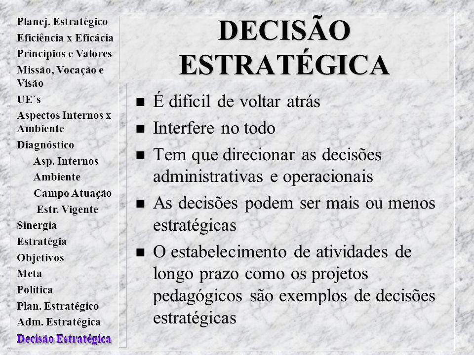 Planej. Estratégico Eficiência x Eficácia Princípios e Valores Missão, Vocação e Visão UE´s Aspectos Internos x Ambiente Diagnóstico Asp. Internos Amb
