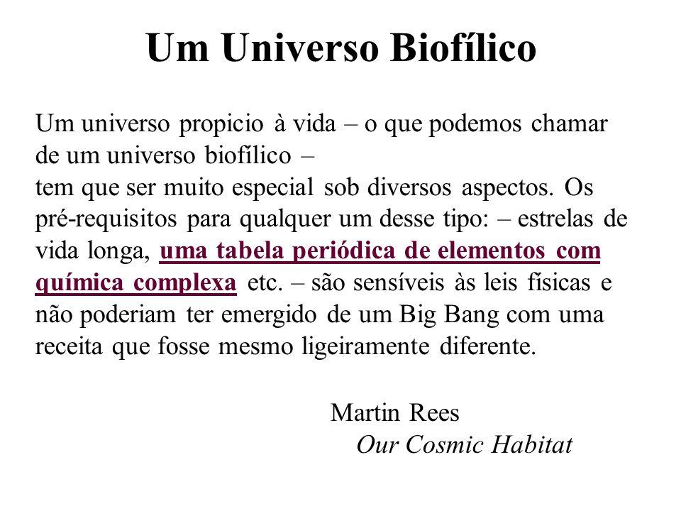 Um Universo Biofílico Martin Rees Our Cosmic Habitat Um universo propicio à vida – o que podemos chamar de um universo biofílico – tem que ser muito e