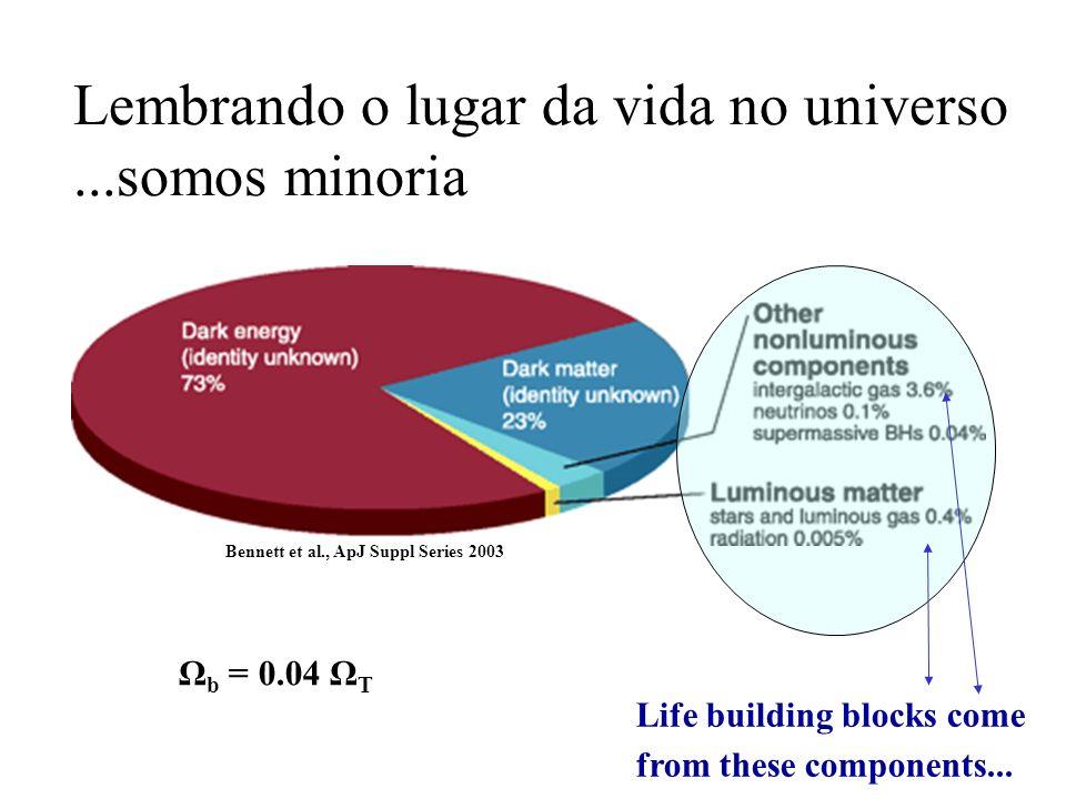 Lembrando o lugar da vida no universo...somos minoria Life building blocks come from these components... Ω b = 0.04 Ω T Bennett et al., ApJ Suppl Seri