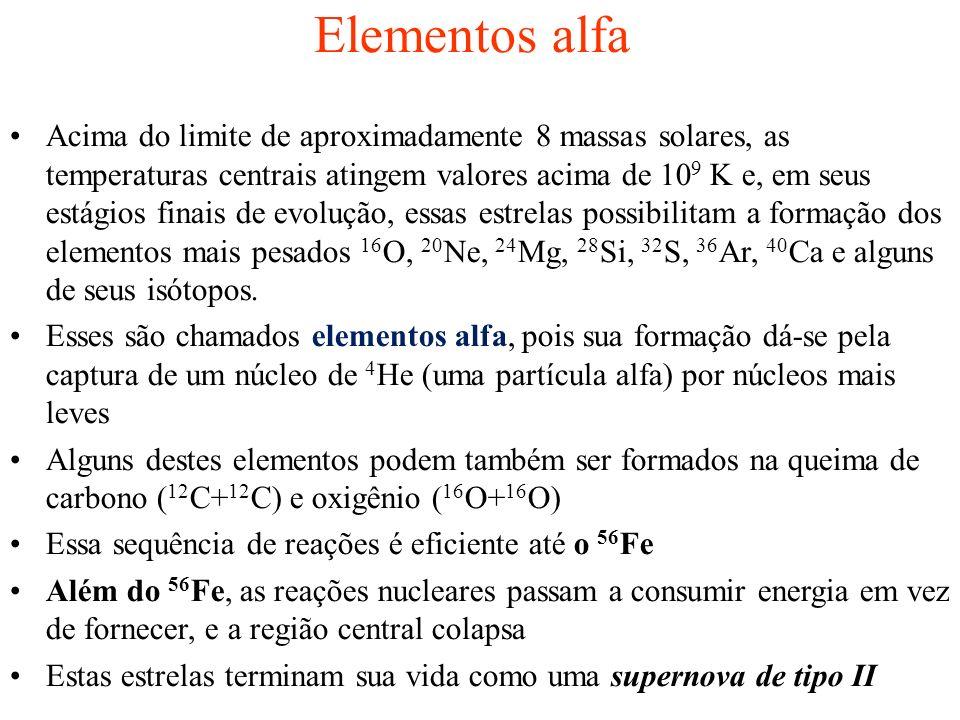 Elementos alfa Acima do limite de aproximadamente 8 massas solares, as temperaturas centrais atingem valores acima de 10 9 K e, em seus estágios finai