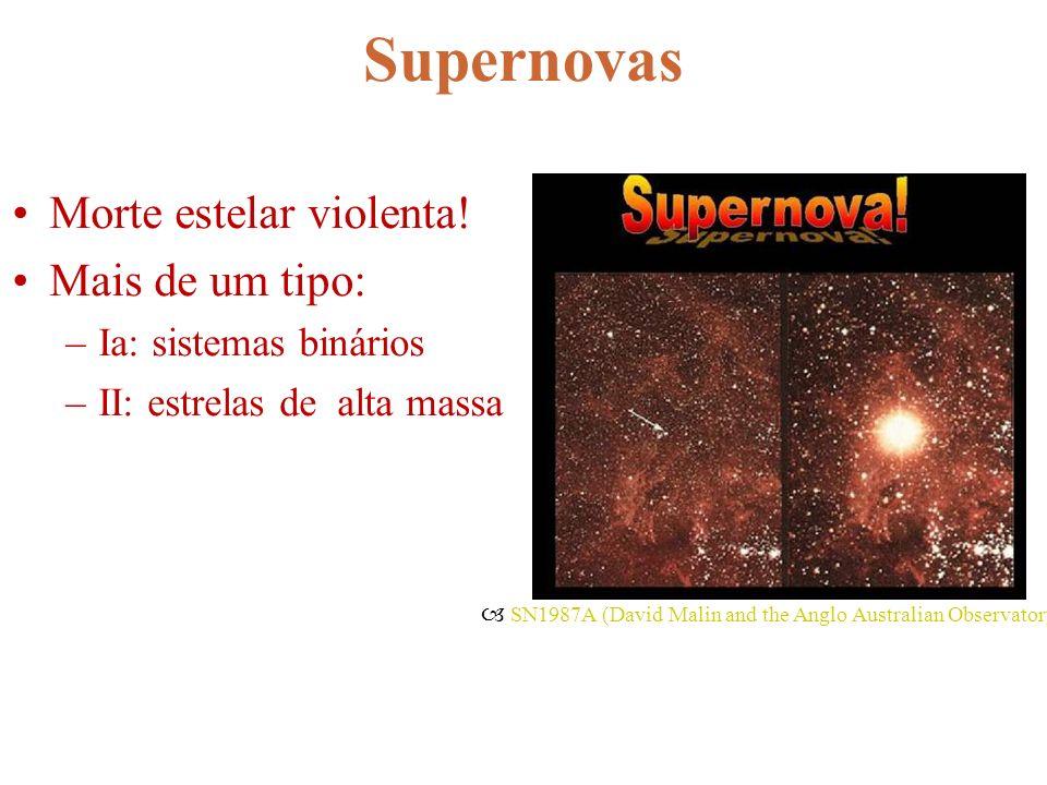 Supernovas Morte estelar violenta! Mais de um tipo: –Ia: sistemas binários –II: estrelas de alta massa SN1987A (David Malin and the Anglo Australian O