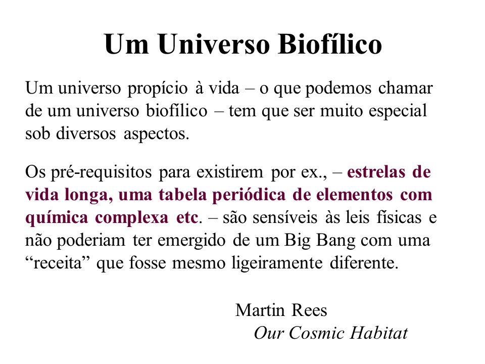Um Universo Biofílico Martin Rees Our Cosmic Habitat Um universo propício à vida – o que podemos chamar de um universo biofílico – tem que ser muito e