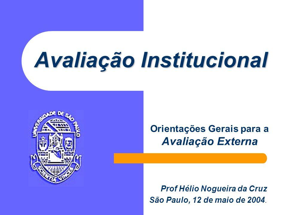 Avaliação Institucional Orientações Gerais para a Avaliação Externa Prof Hélio Nogueira da Cruz São Paulo, 12 de maio de 2004.