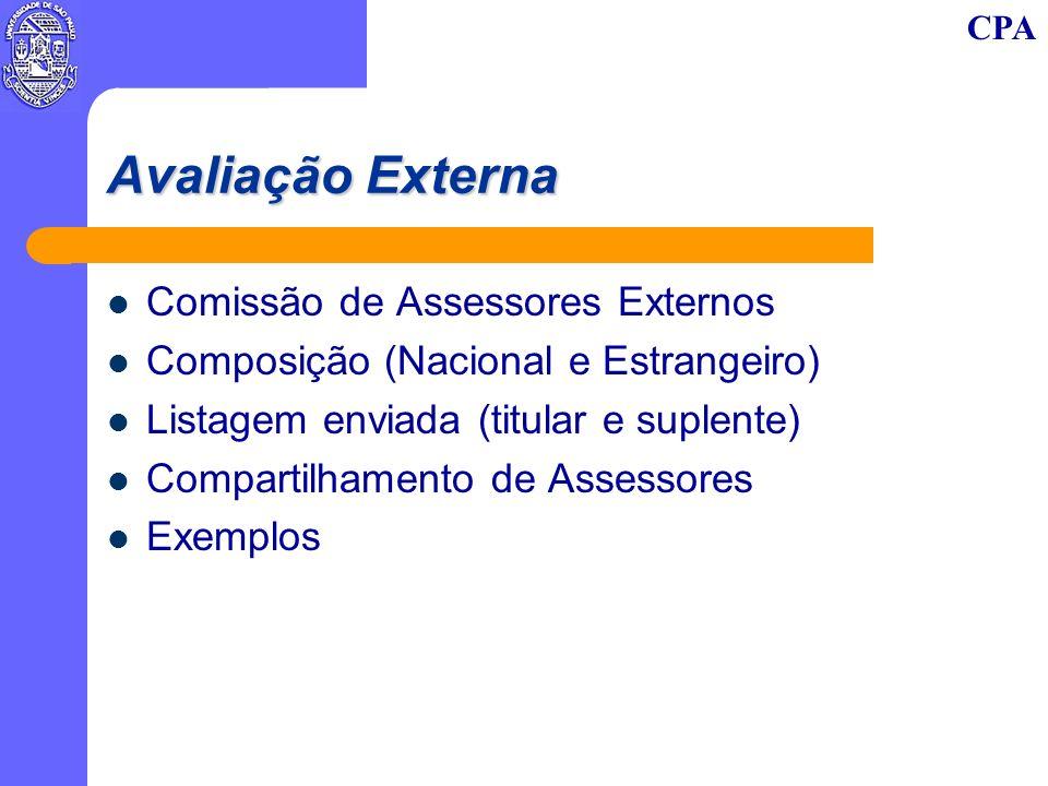 CPA Avaliação Externa Comissão de Assessores Externos Composição (Nacional e Estrangeiro) Listagem enviada (titular e suplente) Compartilhamento de Assessores Exemplos