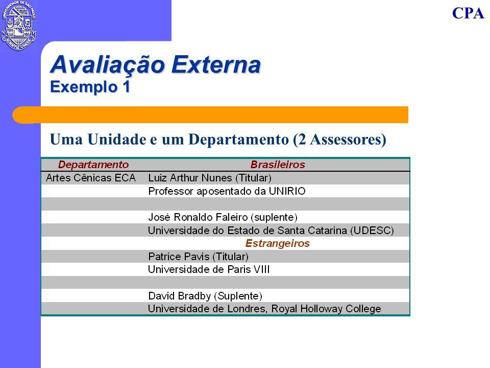 CPA Avaliação Externa Exemplo 1 Uma Unidade e um Departamento (2 Assessores)