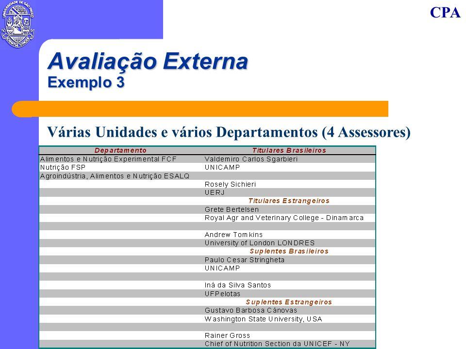 CPA Avaliação Externa Exemplo 3 Várias Unidades e vários Departamentos (4 Assessores)
