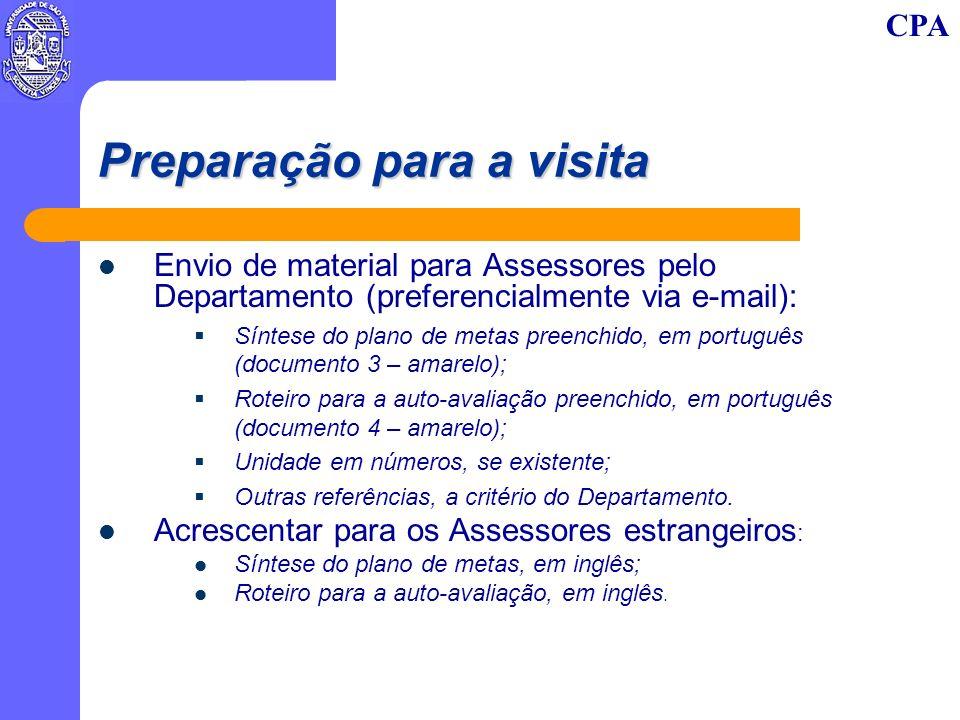 CPA Preparação para a visita Envio de material para Assessores pelo Departamento (preferencialmente via e-mail): Síntese do plano de metas preenchido,
