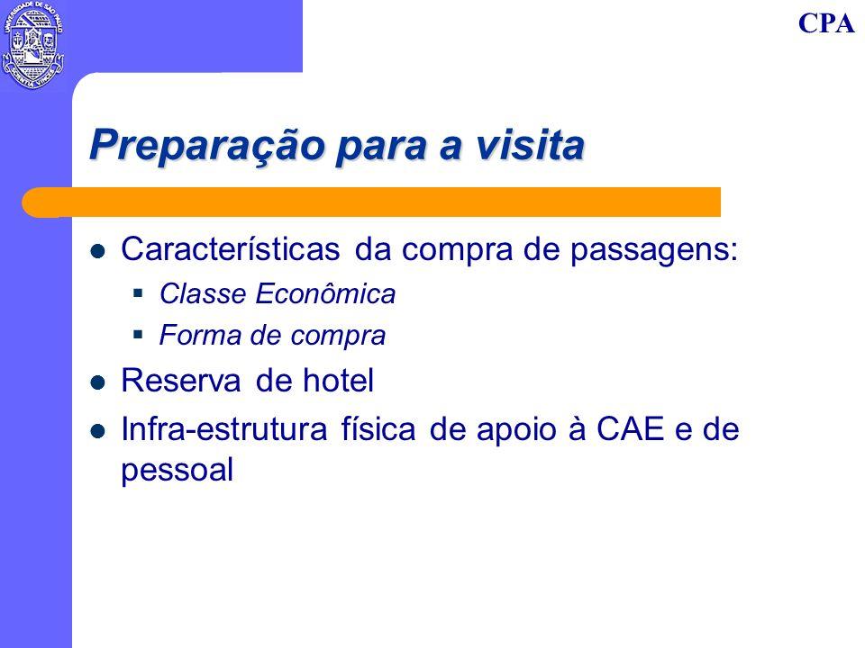 CPA Preparação para a visita Características da compra de passagens: Classe Econômica Forma de compra Reserva de hotel Infra-estrutura física de apoio à CAE e de pessoal