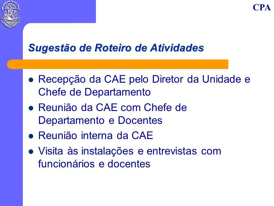 CPA Sugestão de Roteiro de Atividades Recepção da CAE pelo Diretor da Unidade e Chefe de Departamento Reunião da CAE com Chefe de Departamento e Docentes Reunião interna da CAE Visita às instalações e entrevistas com funcionários e docentes