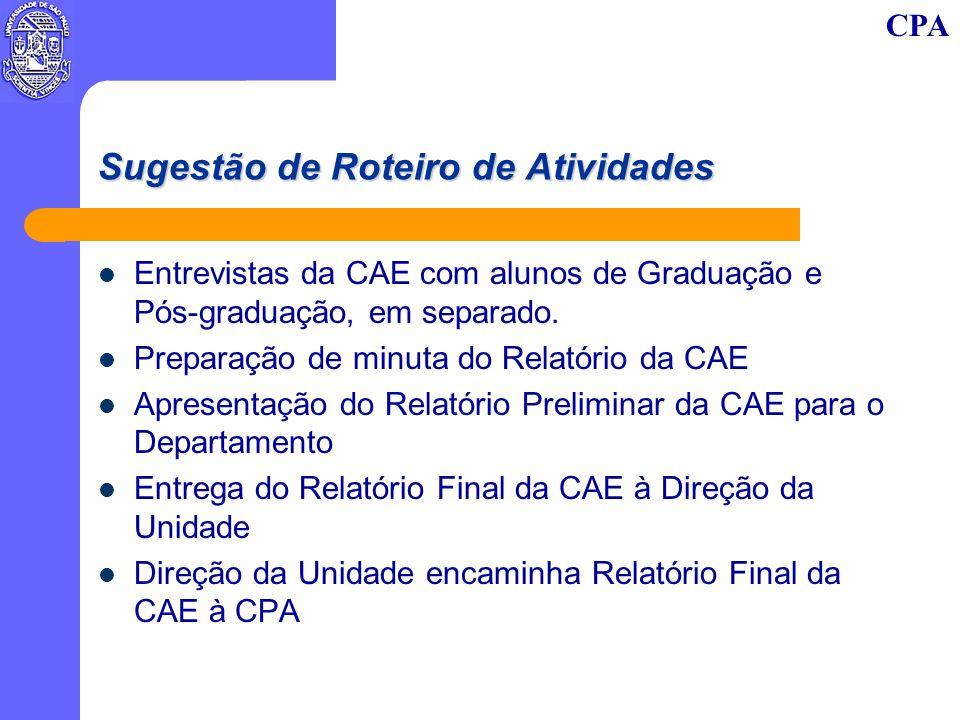 CPA Sugestão de Roteiro de Atividades Entrevistas da CAE com alunos de Graduação e Pós-graduação, em separado. Preparação de minuta do Relatório da CA