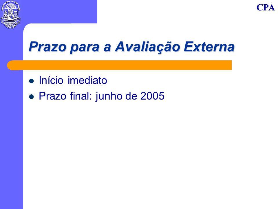 CPA Prazo para a Avaliação Externa Início imediato Prazo final: junho de 2005