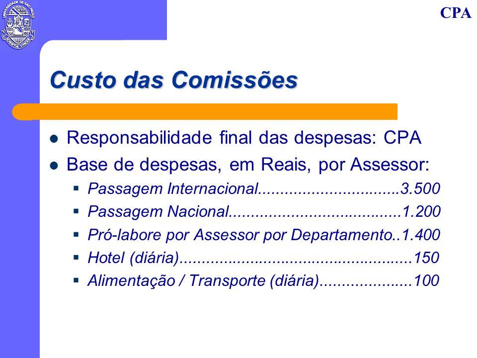 CPA Custo das Comissões Responsabilidade final das despesas: CPA Base de despesas, em Reais, por Assessor: Passagem Internacional................................3.500 Passagem Nacional.......................................1.200 Pró-labore por Assessor por Departamento..1.400 Hotel (diária).....................................................150 Alimentação / Transporte (diária).....................100