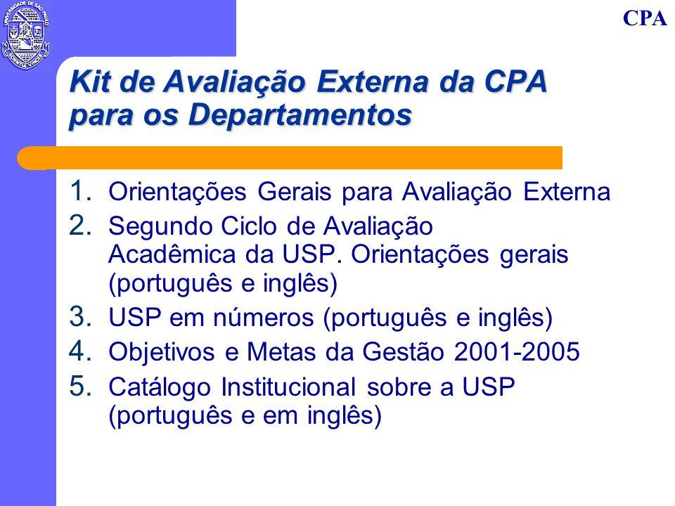 CPA Kit de Avaliação Externa da CPA para os Departamentos 1. Orientações Gerais para Avaliação Externa 2. Segundo Ciclo de Avaliação Acadêmica da USP.