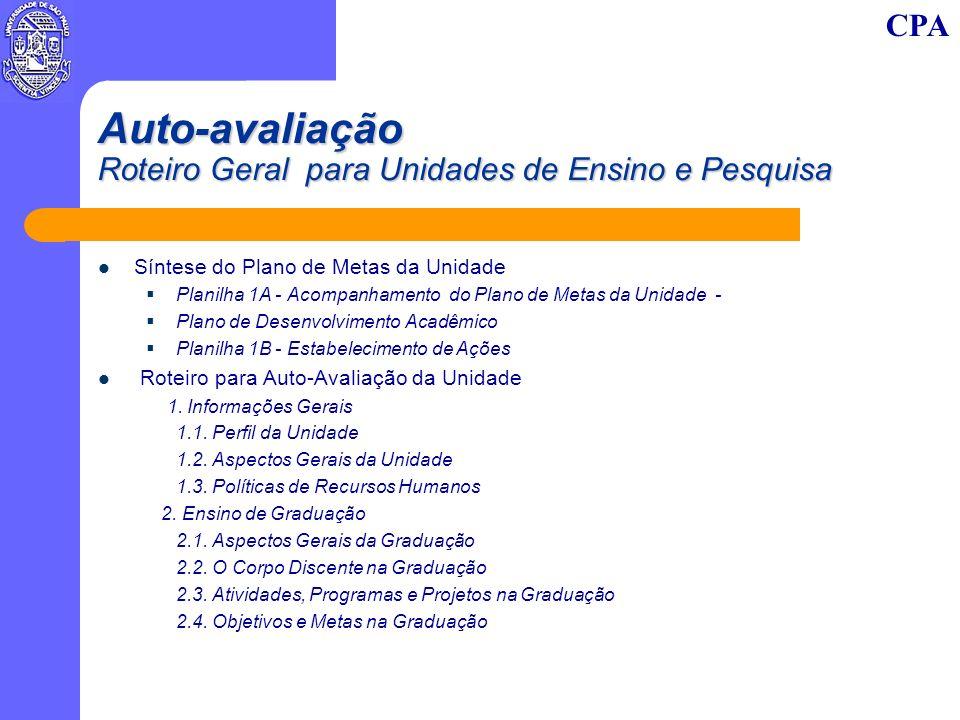 CPA Auto-avaliação Roteiro Geral para Unidades de Ensino e Pesquisa 3.