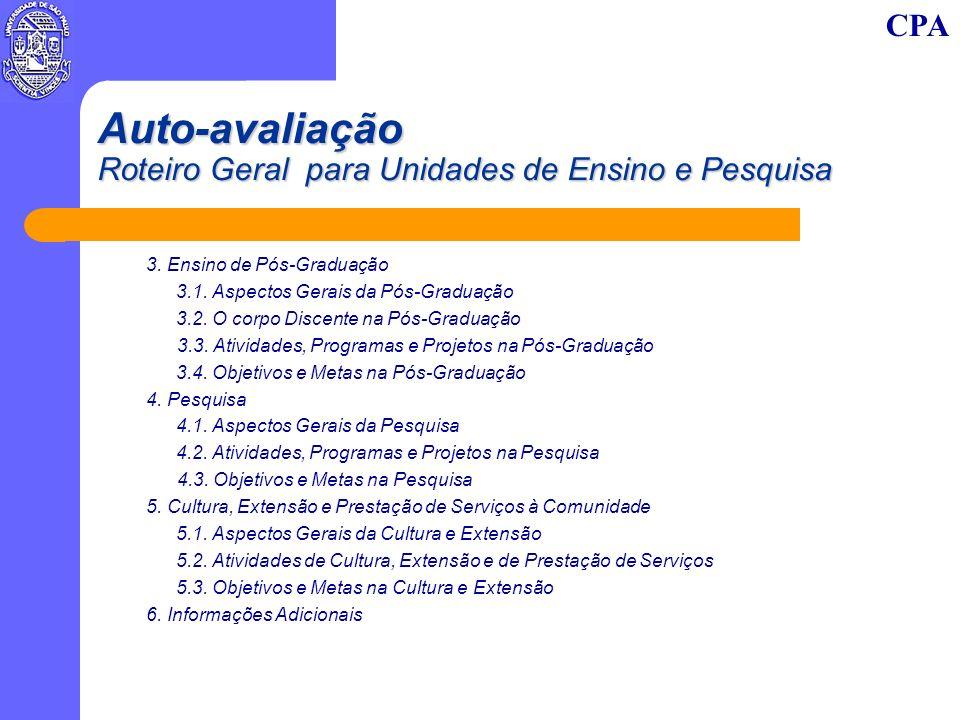 CPA Auto-avaliação Roteiro Geral para Unidades de Ensino e Pesquisa 3. Ensino de Pós-Graduação 3.1. Aspectos Gerais da Pós-Graduação 3.2. O corpo Disc