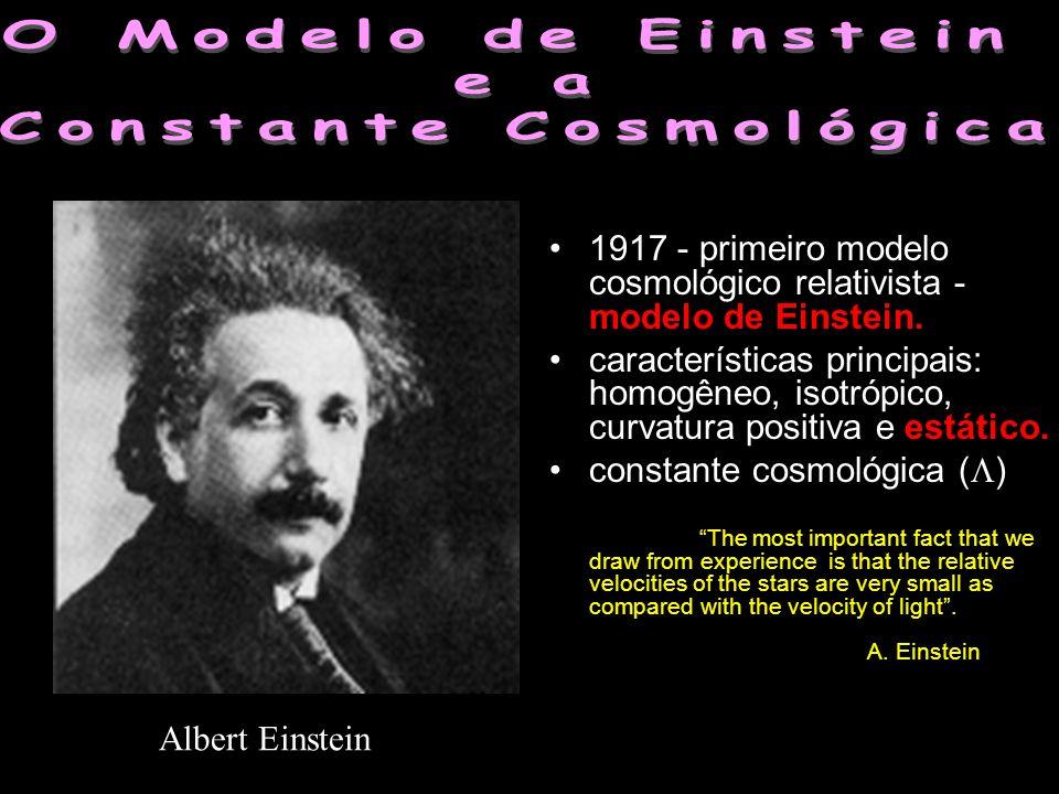 1917 - primeiro modelo cosmológico relativista - modelo de Einstein. características principais: homogêneo, isotrópico, curvatura positiva e estático.