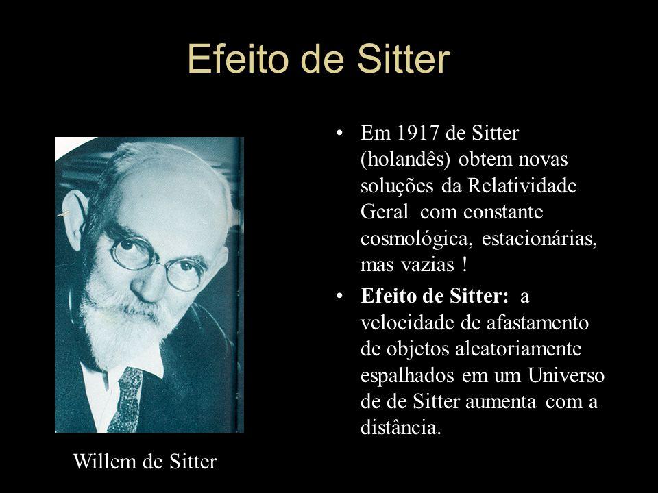 Efeito de Sitter Em 1917 de Sitter (holandês) obtem novas soluções da Relatividade Geral com constante cosmológica, estacionárias, mas vazias ! Efeito