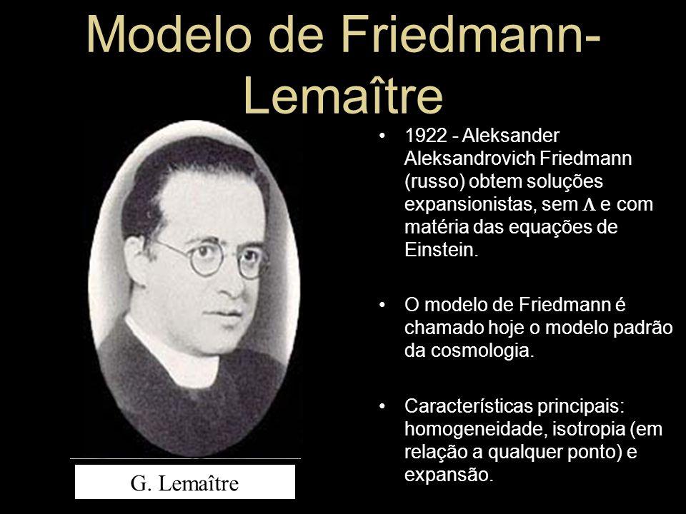 A. A. Friedmann G. Lemaître 1922 - Aleksander Aleksandrovich Friedmann (russo) obtem soluções expansionistas, sem e com matéria das equações de Einste