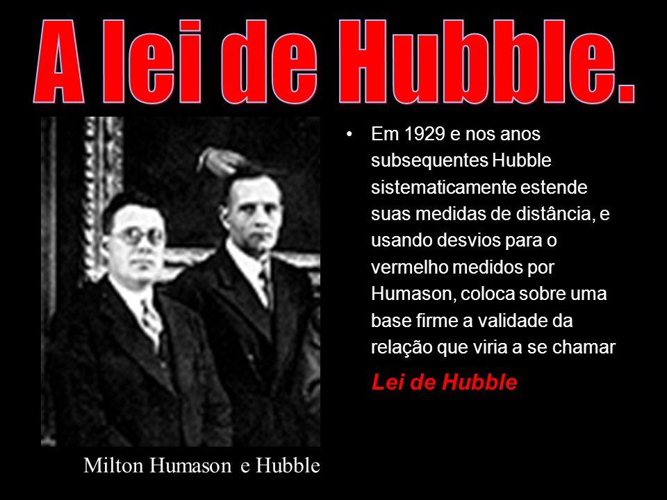 Em 1929 e nos anos subsequentes Hubble sistematicamente estende suas medidas de distância, e usando desvios para o vermelho medidos por Humason, coloc