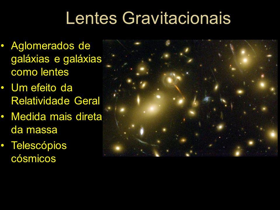 Lentes Gravitacionais Aglomerados de galáxias e galáxias como lentes Um efeito da Relatividade Geral Medida mais direta da massa Telescópios cósmicos