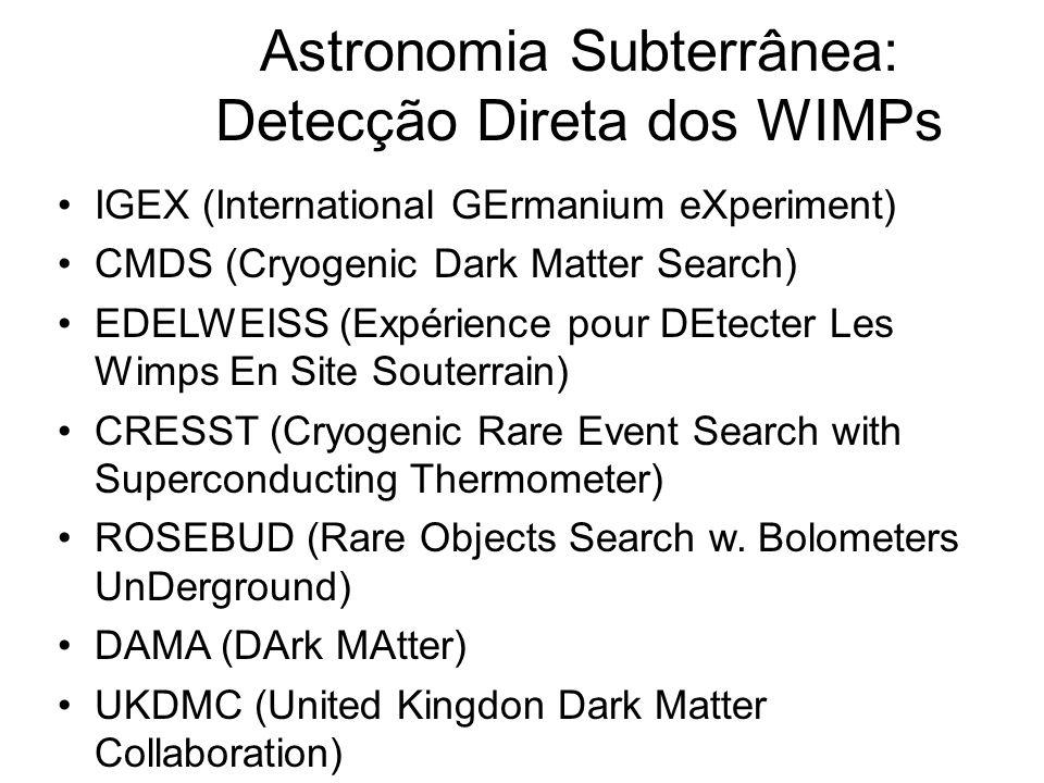 Astronomia Subterrânea: Detecção Direta dos WIMPs IGEX (International GErmanium eXperiment) CMDS (Cryogenic Dark Matter Search) EDELWEISS (Expérience