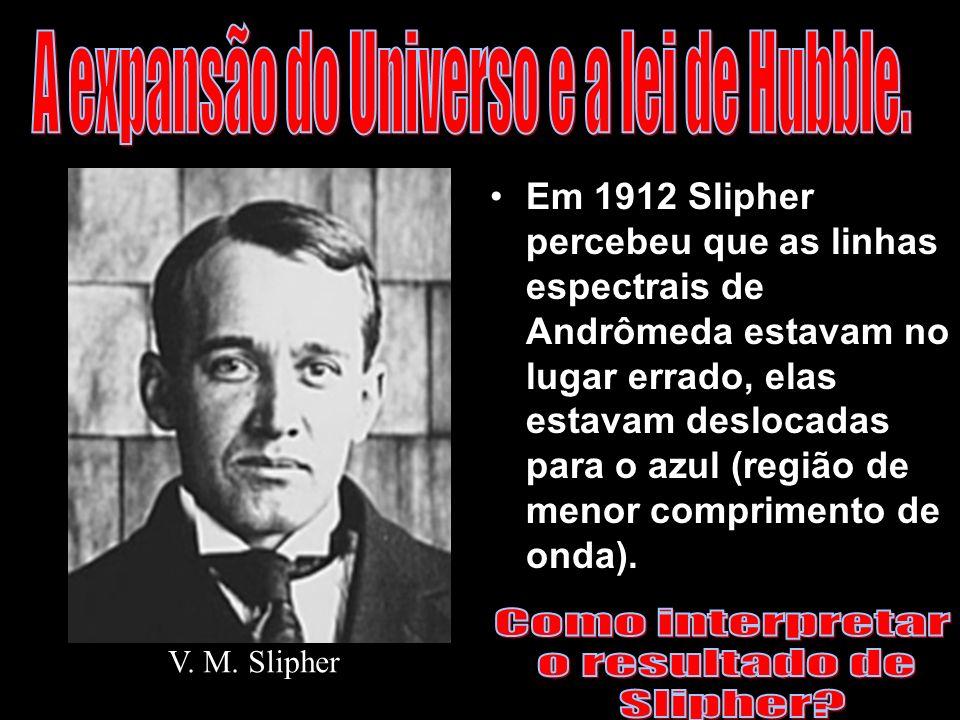 Em 1912 Slipher percebeu que as linhas espectrais de Andrômeda estavam no lugar errado, elas estavam deslocadas para o azul (região de menor comprimen