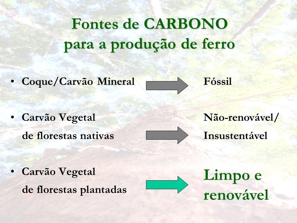 Fontes de CARBONO para a produção de ferro Coque/Carvão Mineral Carvão Vegetal de florestas nativas Carvão Vegetal de florestas plantadas Fóssil Não-renovável/ Insustentável Limpo e renovável