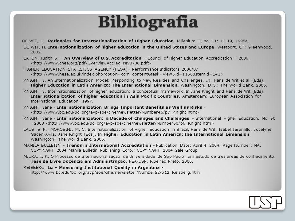 DE WIT, H. Rationales for Internationalization of Higher Education. Millenium 3, no. 11: 11-19, 1998e. DE WIT, H. Internationalization of higher educa