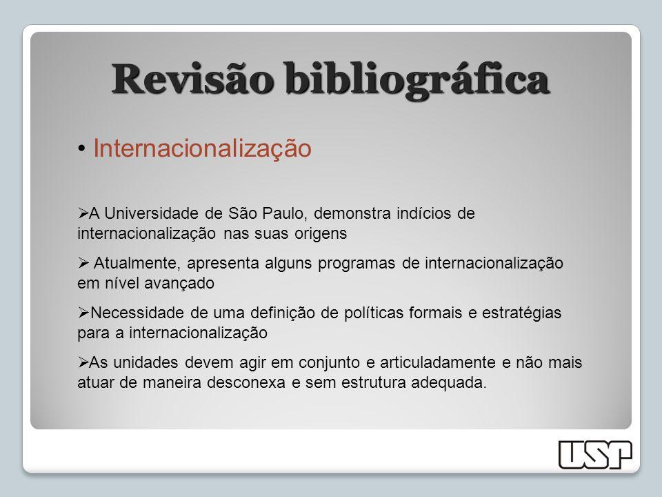 Revisão bibliográfica Internacionalização A Universidade de São Paulo, demonstra indícios de internacionalização nas suas origens Atualmente, apresent