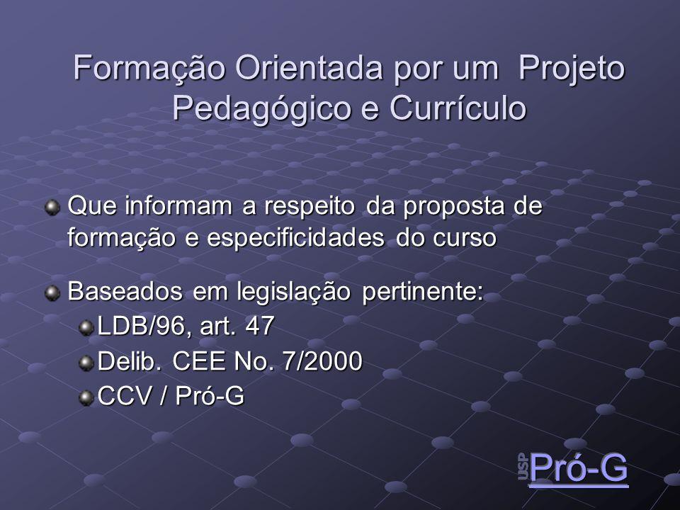 Formação Orientada por um Projeto Pedagógico e Currículo Que informam a respeito da proposta de formação e especificidades do curso Baseados em legislação pertinente: LDB/96, art.