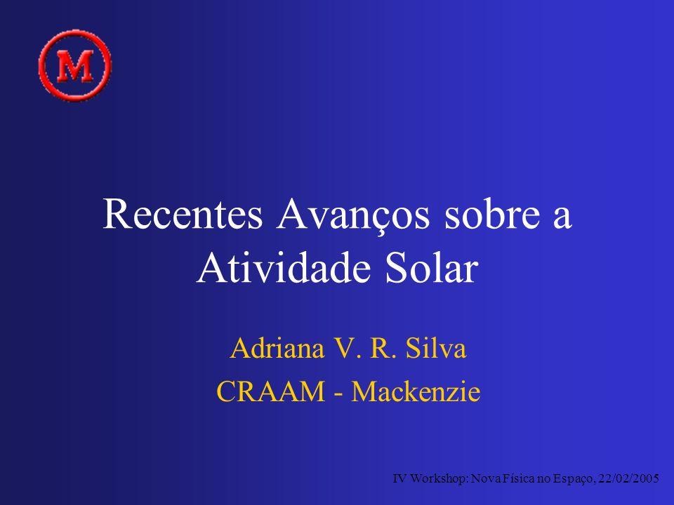 Recentes Avanços sobre a Atividade Solar Adriana V. R. Silva CRAAM - Mackenzie IV Workshop: Nova Física no Espaço, 22/02/2005