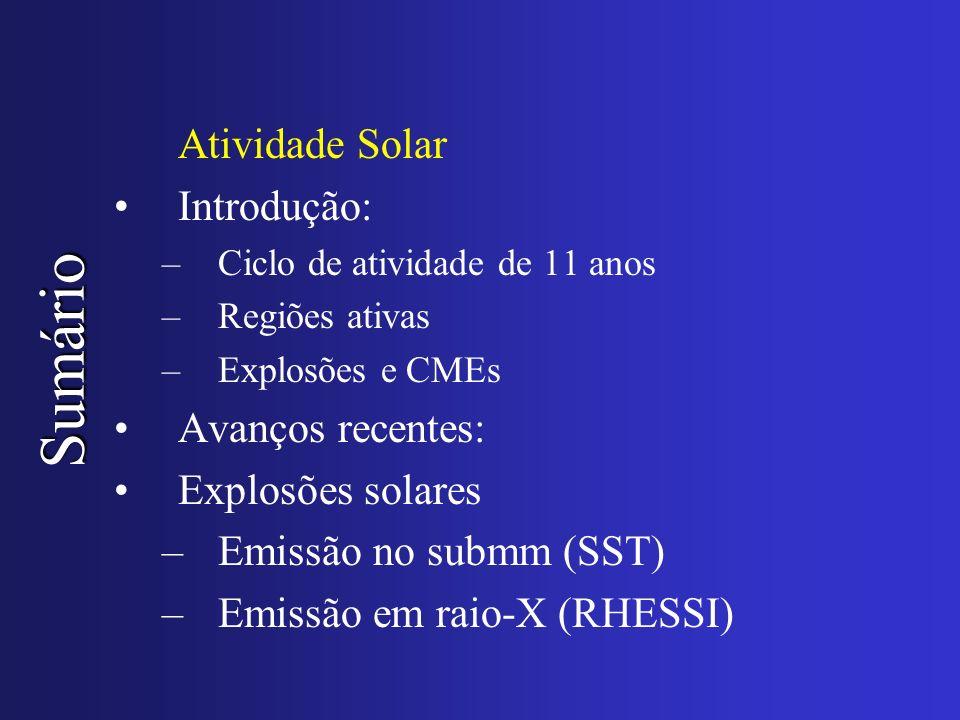 Sumário Atividade Solar Introdução: –Ciclo de atividade de 11 anos –Regiões ativas –Explosões e CMEs Avanços recentes: Explosões solares –Emissão no s